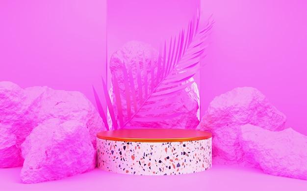Pódio redondo rosa com folha de palmeira para apresentações de produtos. renderização 3d. fundo rosa.