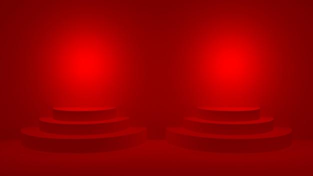 Pódio redondo vermelho na exibição do palco vermelho para a cerimônia de premiação, renderização 3d.