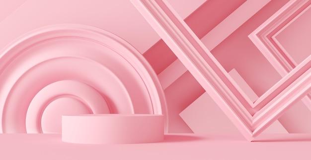 Pódio rosa abstrato com molduras