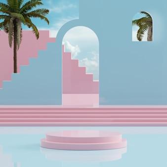 Pódio rosa céu azul com árvores tropicais para colocação de produto renderização em 3d