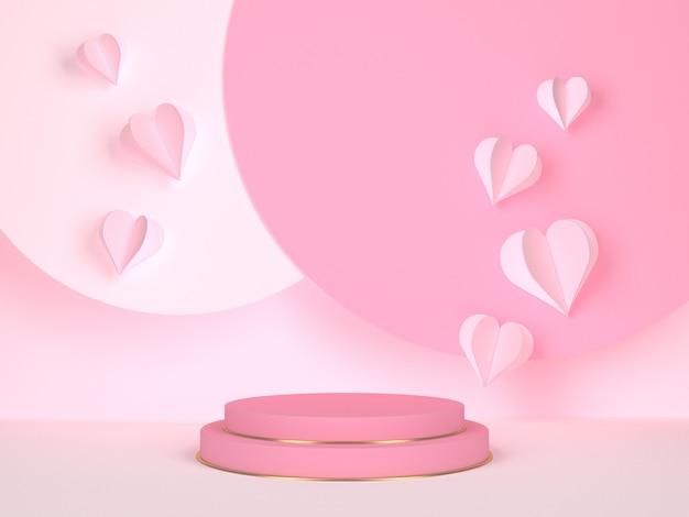 Pódio rosa com corações. conceito de casamento e dia dos namorados. círculo representa anúncios publicitários criativos. renderização 3d