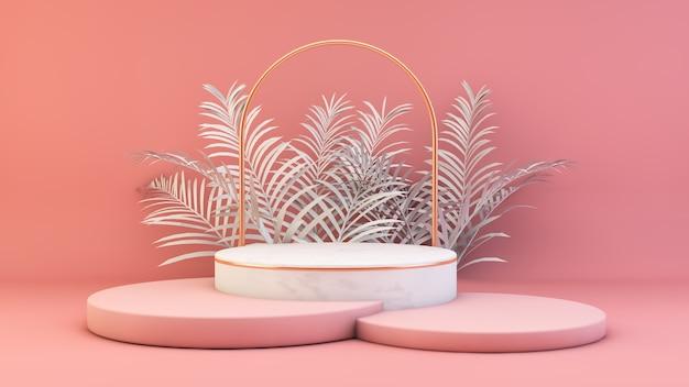 Pódio rosa com renderização 3d backgorund