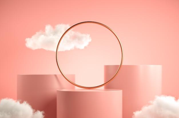 Pódio rosa de etapa mínima com nuvem branca e fundo abstrato de anel de ouro renderização em 3d