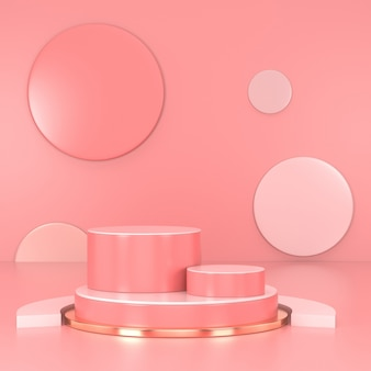 Pódio rosa mínimo. cena de parede rosa. pastel. renderização em 3d.