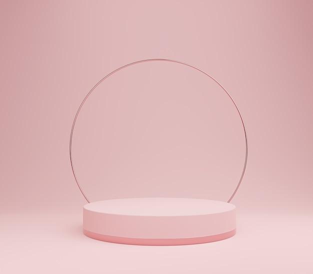 Pódio rosa pastel com arco dourado