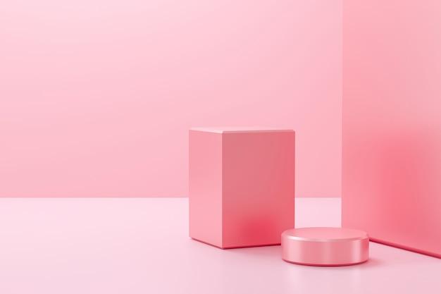 Pódio rosa sobre fundo rosa pastel