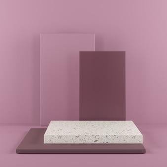Pódio roxo da cor da forma abstrata da geometria com o terraço no fundo roxo para o produto.