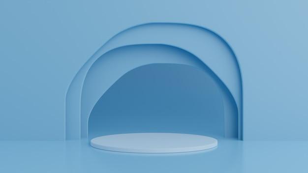 Pódio sobre fundo de cor azul para o produto. conceito mínimo. renderização em 3d