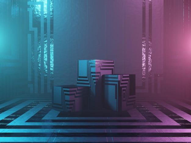 Pódio, suporte ou plataforma abstrata - cubos com textura em um fundo escuro. renderização em 3d