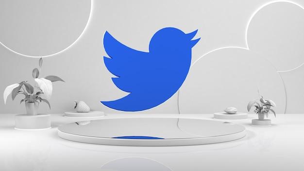 Pódio vazio branco. o pedestal do palco. ícone do tweeter no centro da renderização