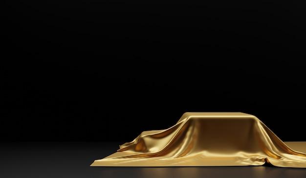 Pódio vazio coberto com pano dourado sobre preto