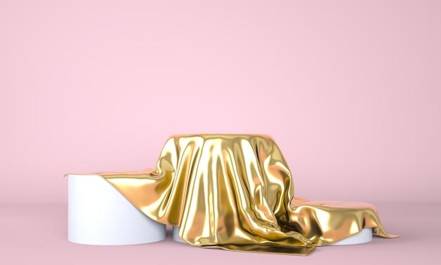 Pódio vazio coberto com pano dourado