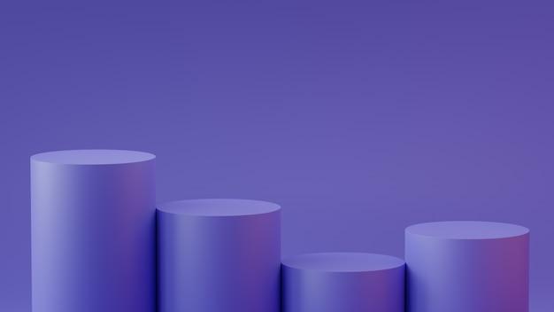 Pódio vazio do cilindro das etapas no fundo vazio. renderização em 3d.