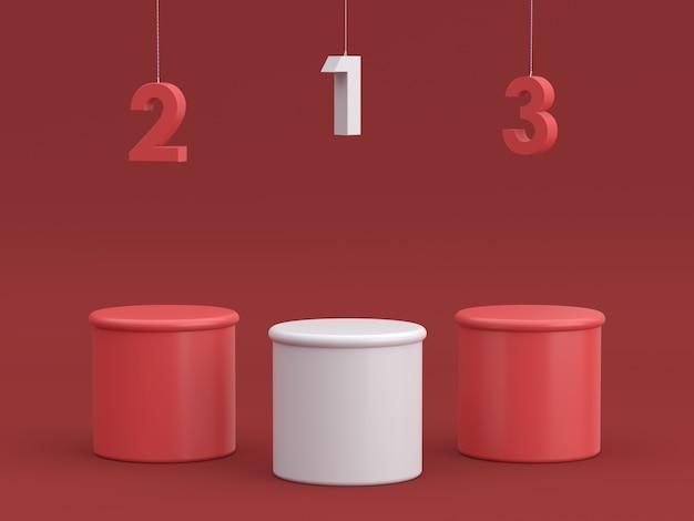 Pódio vazio dos vencedores com número de suspensão no fundo vermelho. renderização 3d.