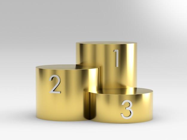 Pódio vazio dos vencedores do ouro no fundo branco. renderização 3d.