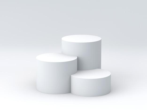 Pódio vazio dos vencedores no fundo branco. renderização 3d.