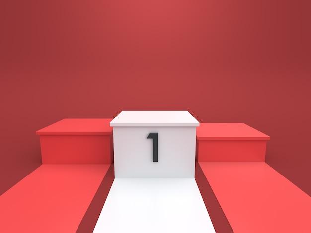 Pódio vazio dos vencedores no fundo vermelho. renderização 3d.