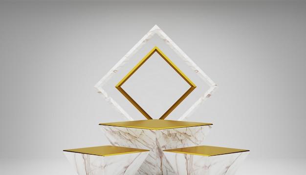 Pódio vazio em mármore branco e dourado.
