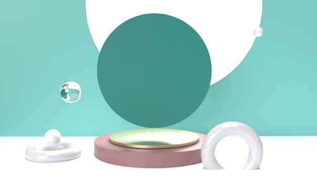 Pódio vazio geométrico abstrato ou display de pedestal para colocação de produtos em fundo colorido com conceito de suporte de caixa