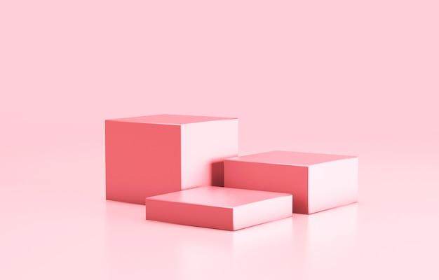 Pódio vazio, modelo de prateleira de produtos. cubos de cor rosa e plano de fundo. renderização 3d.