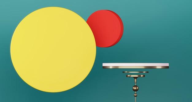 Pódio vazio para o produto presente no plano de fundo do círculo colorido