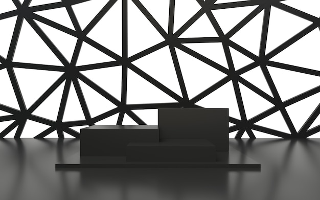 Pódio vazio preto com linhas geométricas