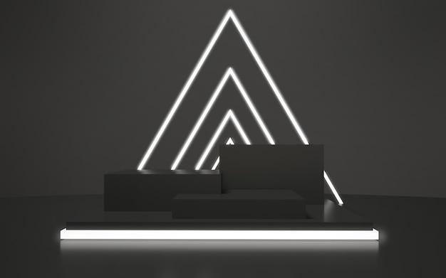 Pódio vazio preto com triângulos brilhantes