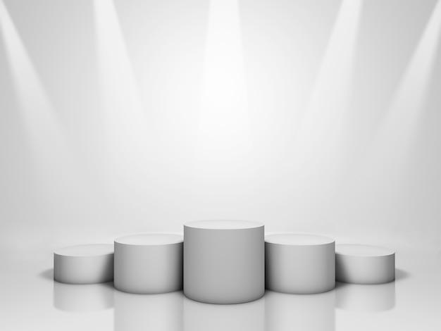 Pódio vencedor no fundo branco iluminado