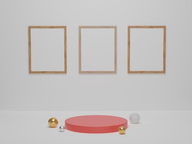 Pódio vermelho com molduras de madeira em fundo branco. plataformas para apresentação de produtos, simulação de plano de fundo. fundo em branco para publicidade de produtos. renderização 3d, ilustração 3d
