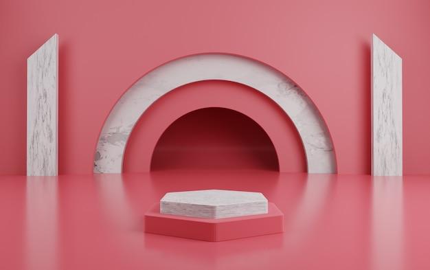 Pódio vermelho geométrico 3d para colocação de produtos