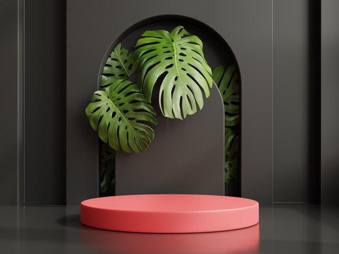 Pódio vermelho para apresentação do produto, fundo preto, renderização 3d