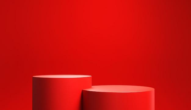 Pódio vermelho sobre fundo vermelho