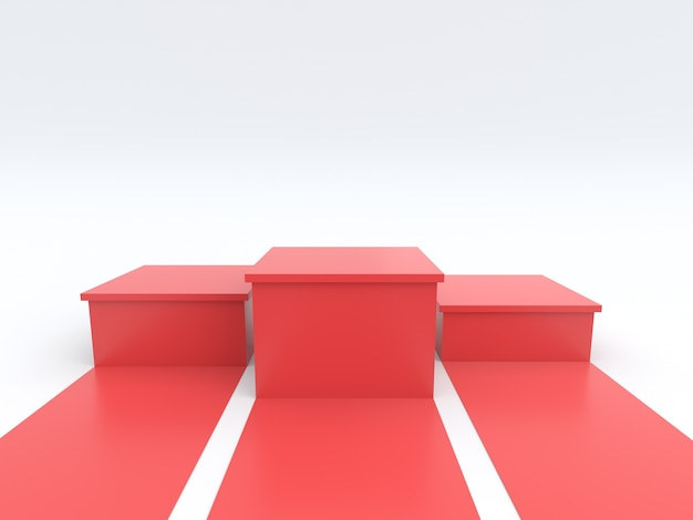 Pódio vermelho vazio dos vencedores no fundo branco.