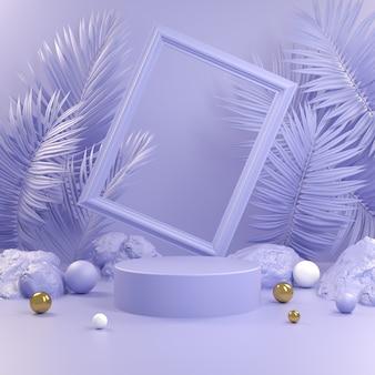 Pódio violeta abstrato com moldura e fundo em folha de palmeira 3d render