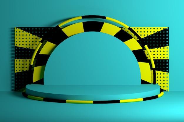 Pódios azuis com formas de anéis pretos amarelos