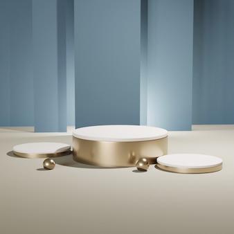 Pódios de cilindro de ouro, renderização em 3d