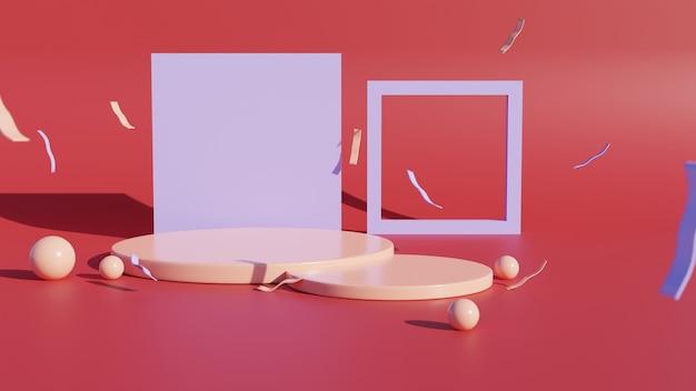 Pódios do cilindro ou exibidos em fundo vermelho. cena mínima abstrata com geométricas. projete o espaço vazio.