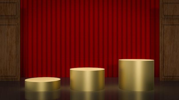 Pódios dourados e cortina vermelha