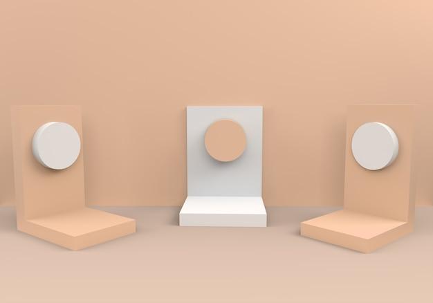 Pódios em composição bege abstrata
