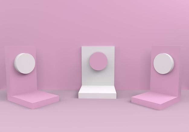 Pódios em composição rosa abstrata