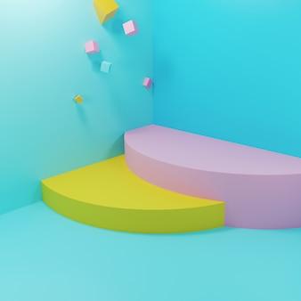 Pódios geométricos abstratos com figuras flutuantes