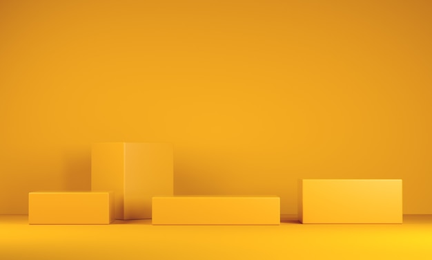 Pódios mínimos em fundo amarelo