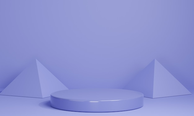 Pódios mínimos roxos 3d, pedestais, degraus em fundo roxo e uma decoração de triângulo. brincar. renderização 3d.