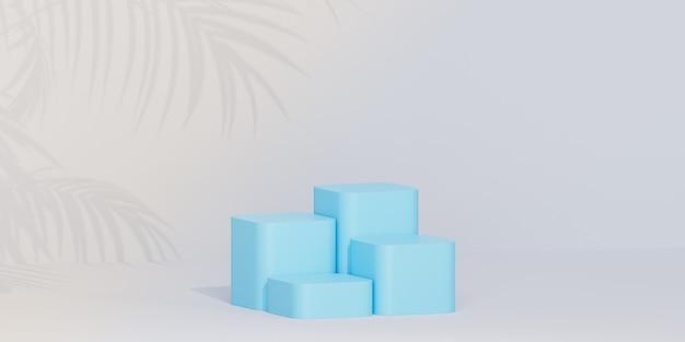 Pódios ou pedestais azuis para produtos ou publicidade em fundo tropical com sombras de folhas de palmeira, renderização 3d