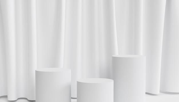 Pódios ou pedestais de cilindro para produtos ou publicidade em fundo branco com cortinas, renderização 3d mínima
