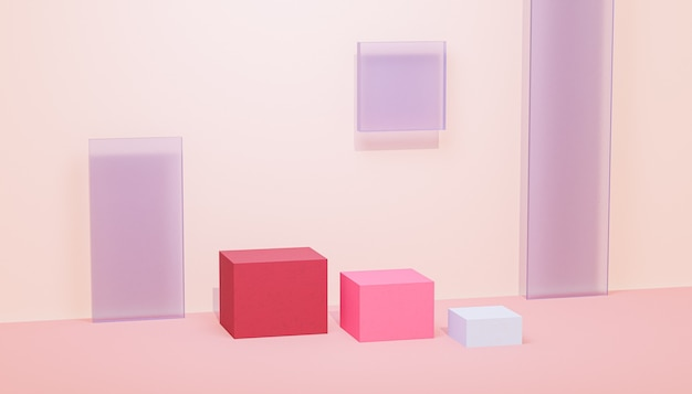 Pódios ou pedestais em cubo para produtos ou publicidade em fundo bege pastel, renderização 3d