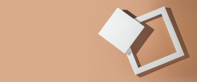 Pódios quadrados brancos para apresentações em um fundo marrom. vista superior, configuração plana. bandeira.