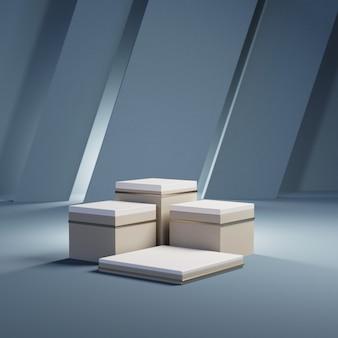 Pódios retangulares de ouro em azul, renderização em 3d