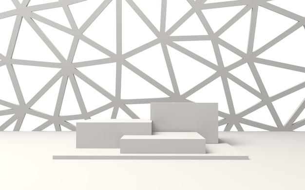 Pódios vazios brancos para exibição de produtos com parede de triângulos