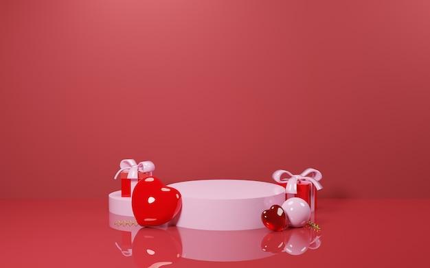 Podiun rosa vazio com caixa de presente e balão em forma de amor para apresentação de produto - renderização em 3d